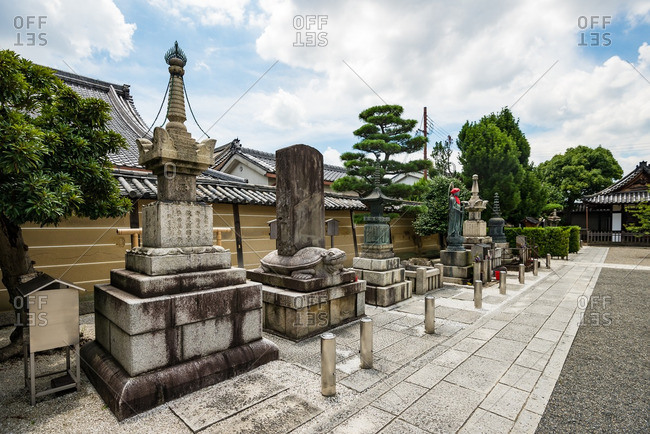 July 16, 2016: Monuments on the grounds of the To-ji temple, Kyoto, Japan