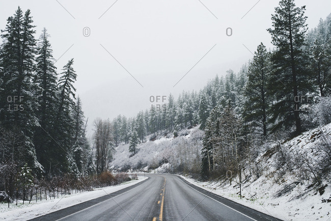 A road in rural winter hills