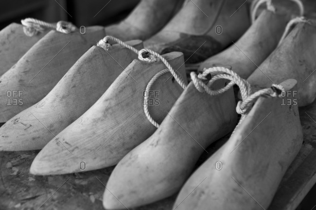 A group of shoe lasts in a cobbler's workshop