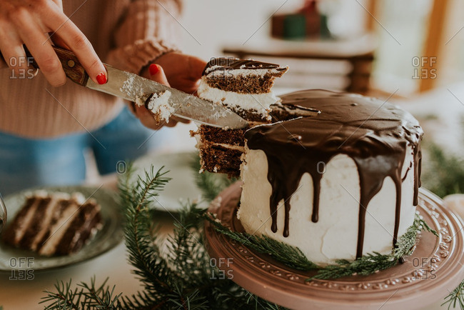Woman slicing a chocolate cake at holiday table