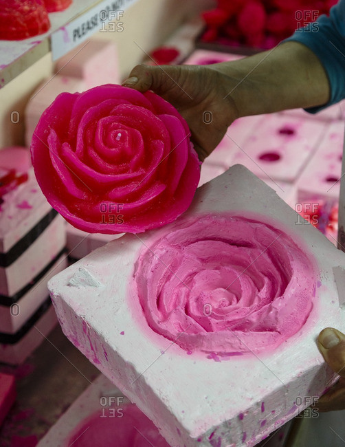 Rose candles being made at the Venus Rose cosmetics, Agros, Cyprus