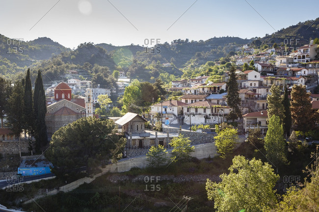 Agros, Cyprus - May 7, 2015: View over the village of Agros, Cyprus