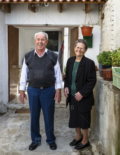 Agros, Cyprus - May 8, 2015: Portrait of elderly couple