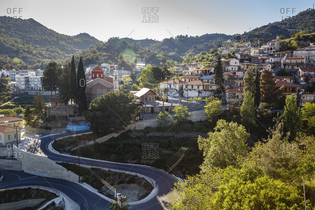 Agros, Cyprus - May 7, 2015: Aerial view of the village of Agros, Cyprus