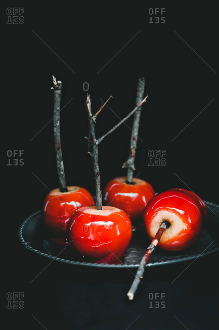Red candied apples served on a stick