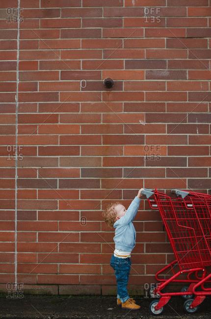 Toddler reaching up to grab a shopping cart