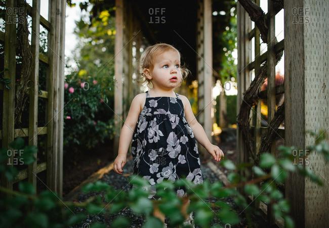 Girl in a sundress standing beneath a garden trellis