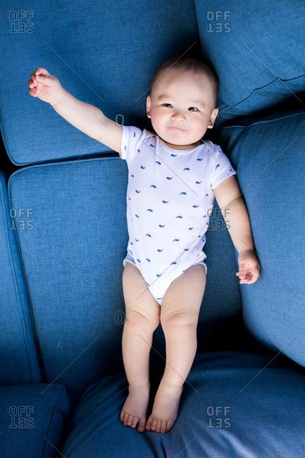 Toddler boy lying on blue sofa cushions