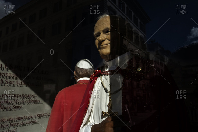 Rome, Italy - October 15, 2016: A wax statue of Pope John Paul II