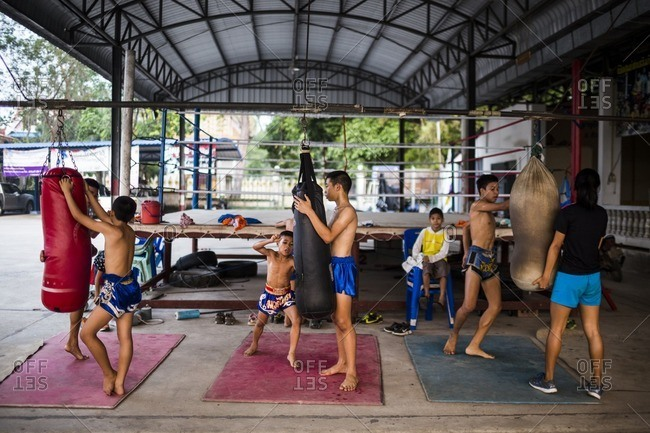 Rayong, Thailand - February 24, 2016: Young children training in Muay Thai