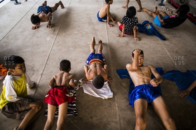 Rayong, Thailand - February 24, 2016: Boys doing exercises for boxing class