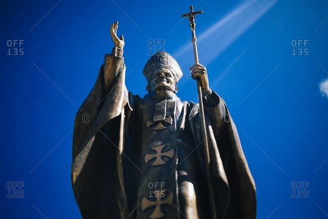 Guam, Mariana Islands - July 28, 2016: A statue of the pope in sunlight