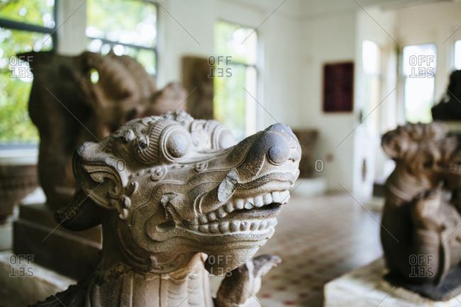 Danang, Vietnam - September 22, 2016: Artifacts in the Cham Museum