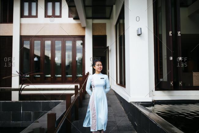 Danang, Vietnam - September 23, 2016: Staff member outside Pullman Resort