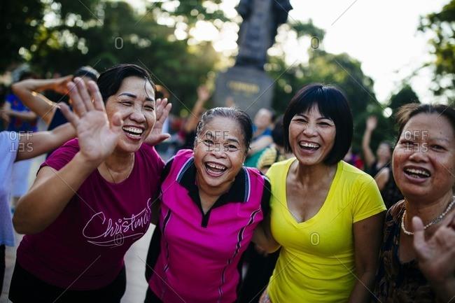Hanoi, Vietnam - September 26, 2016: Vietnamese women during morning yoga