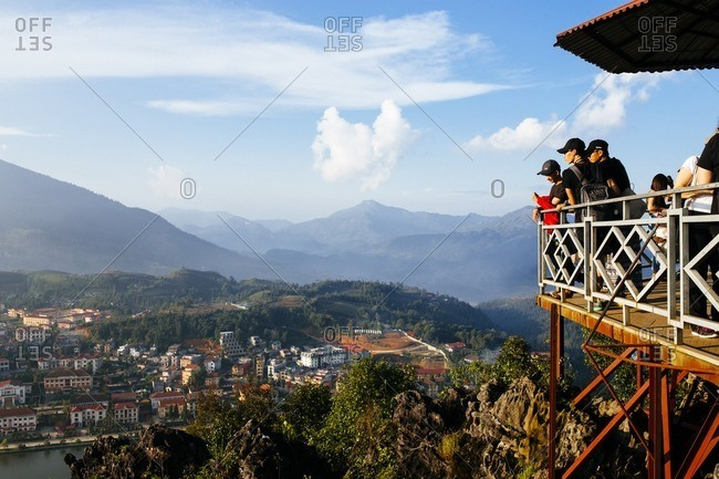 Sapa, Vietnam - September 27, 2016: Tourists overlook on mountain overlook, Vietnam