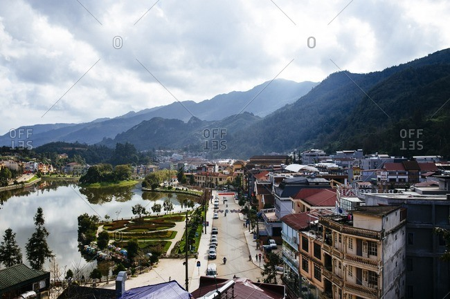Sapa, Vietnam - September 28, 2016: View over mountain town