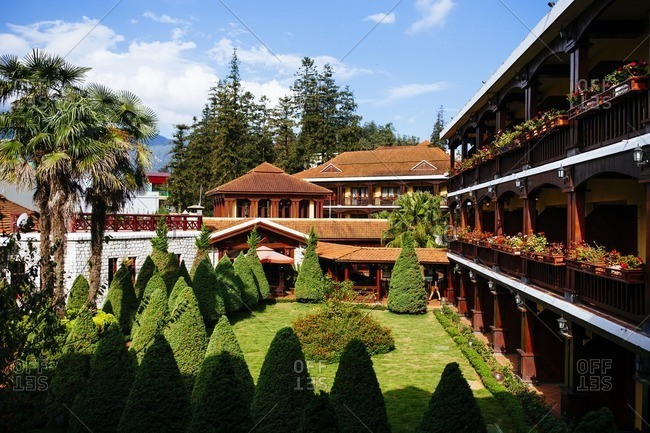 Sapa, Vietnam - September 28, 2016: Gardens in a hotel courtyard