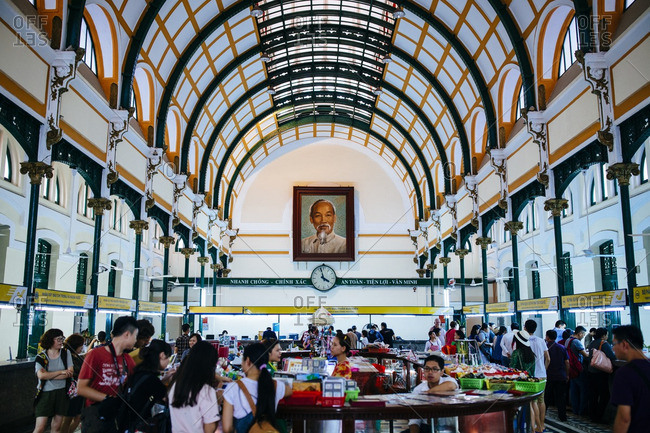 Ho Chi Minh City, Vietnam - September 30, 2016: The interior of post office building