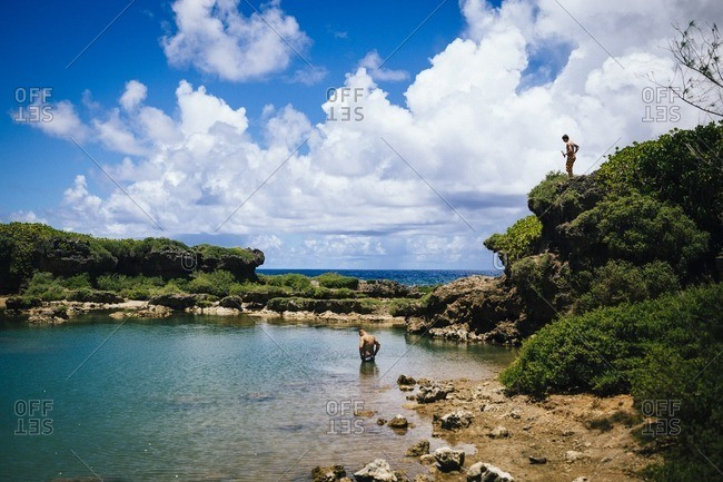 People swimming in Inarajan pools, Guam