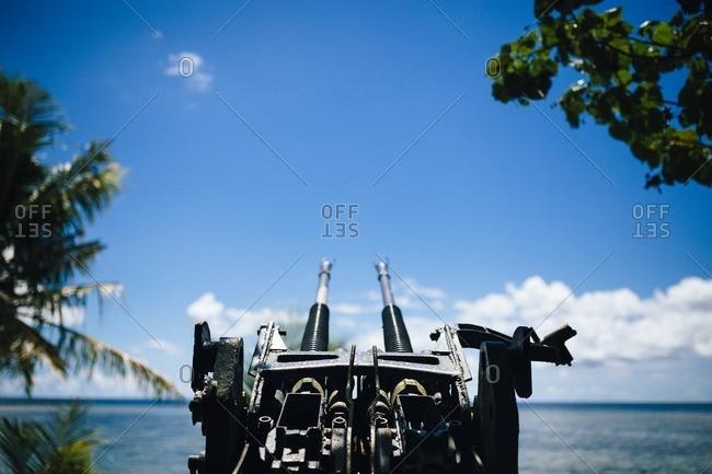 An anti-aircraft gun on Guam island