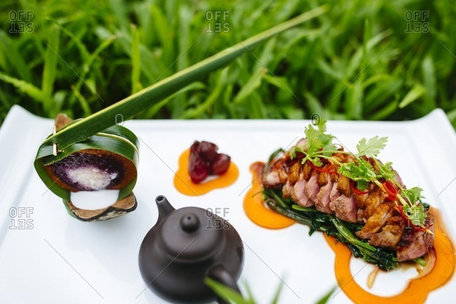 Seared duck breast with stick rice