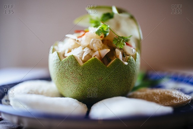 Pomelo salad in close up, Vietnam