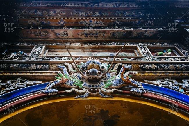 Ornate carvings at Imperial Citadel, Hue, Vietnam