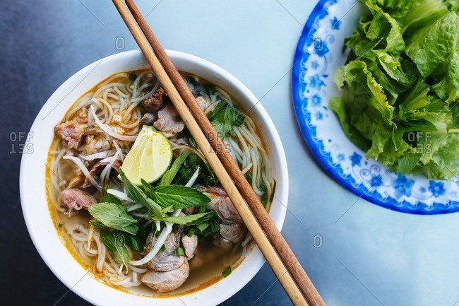 Bowl with Vietnamese beef noodle soup