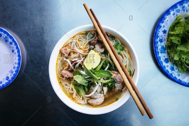 Bowl of Vietnamese beef noodle soup