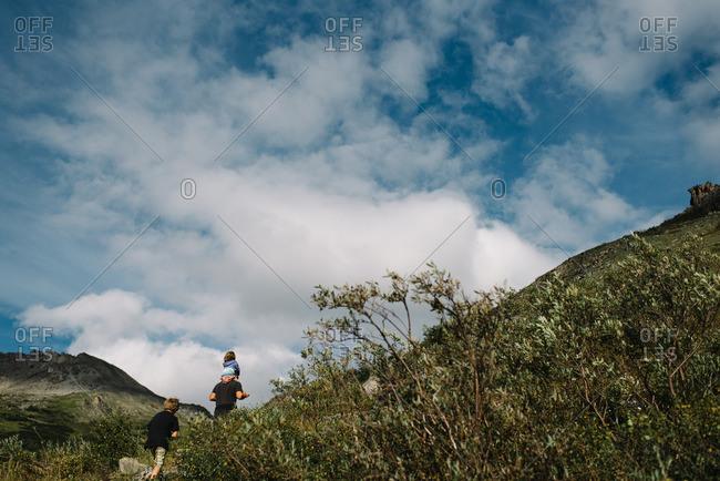 Dad and kids hiking Denali National Park