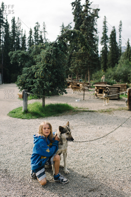 Boy petting sled dog on chain