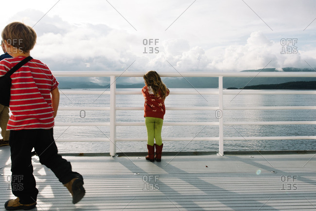 Kids on a ferry in remote setting