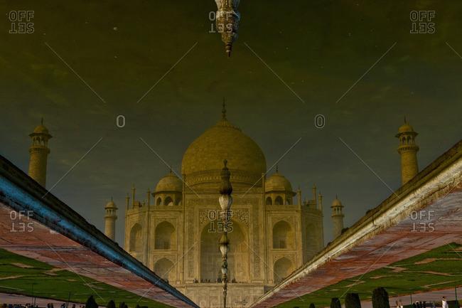 Agra, Uttar Pradesh, India - December 8, 2009: Tajo Mahal reflection in pond