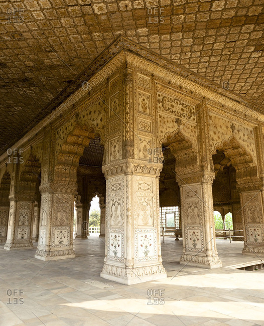 Ornate pillars and arches in Indian building