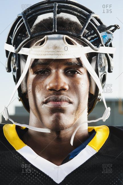 Serious Black football player