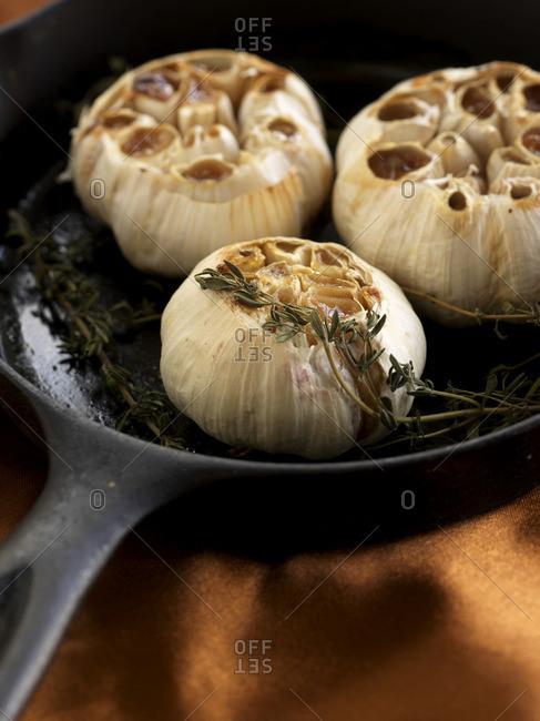 Roasted garlic on  pan