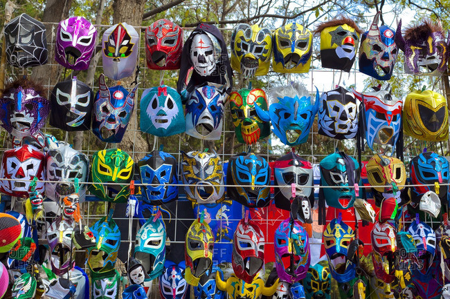 Various colorful wrestling masks