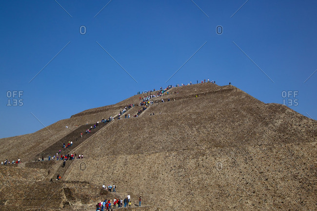 Mexico City, Mexico, Mexico - December 29, 2010: Tourists at historical site of Teotihuacan