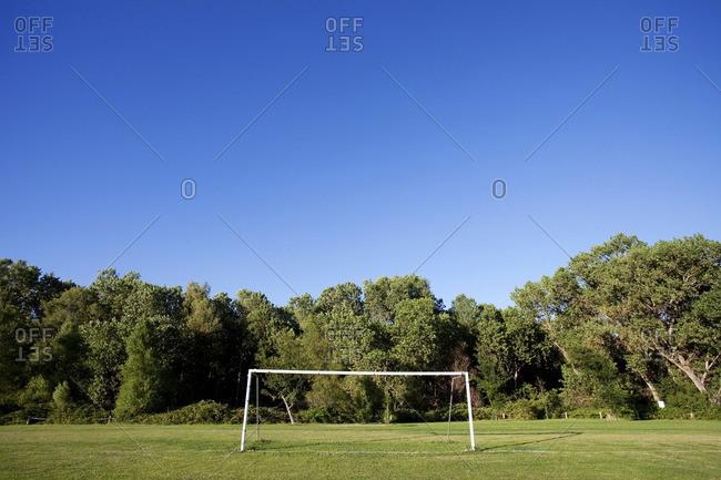 Soccer goal on soccer field
