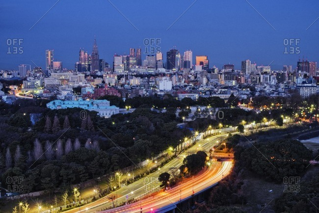 Tokyo, Honshu, Japan - February 2, 2011: Long exposure of urban highway and cityscape at night