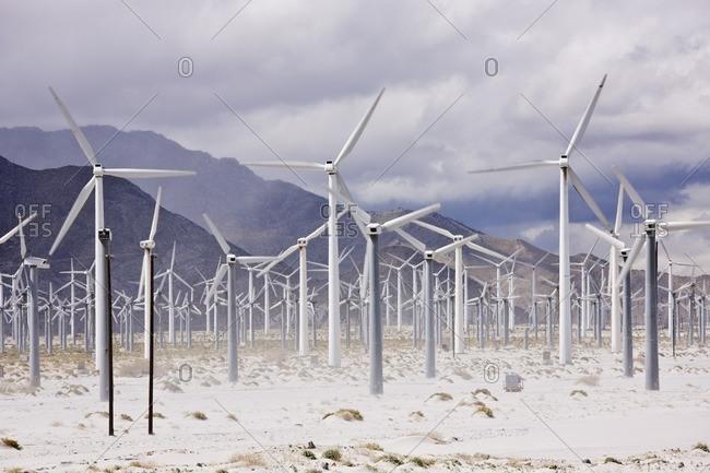 Wind farm in desert valley
