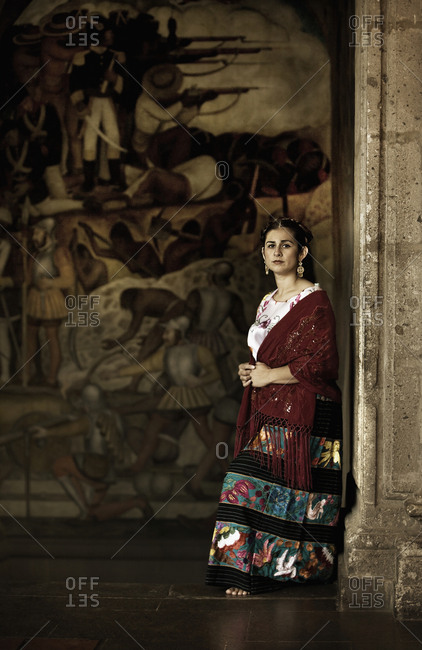 Mexico City DF, Mexico, Mexico - December 28, 2006: Hispanic woman in traditional clothing