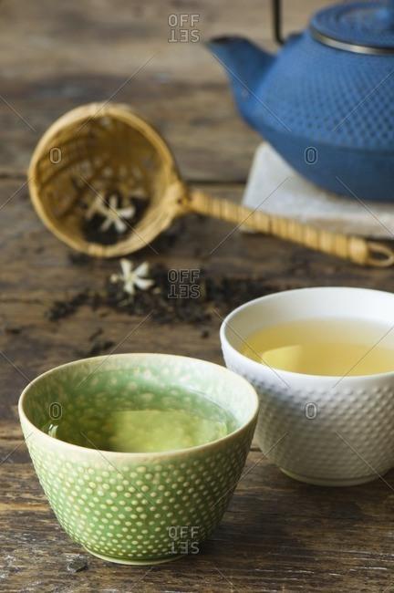 Close up of jasmine tea in teacups