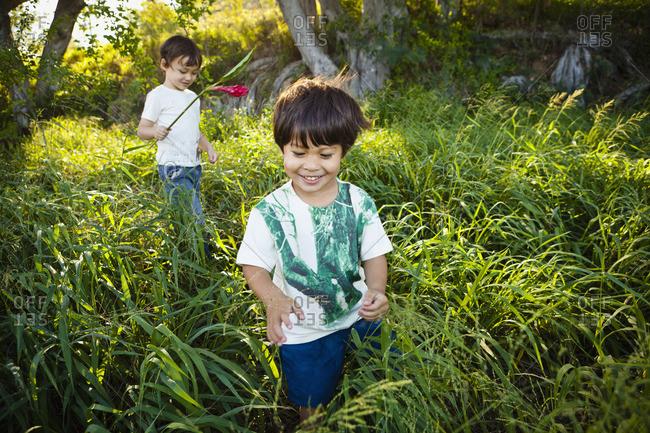 Mixed race children walking through tall grass