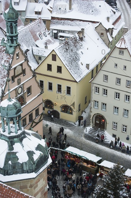 Rothenberg ob der Tauber, Bavaria, Germany - December 19, 2010: Quaint, snow covered village