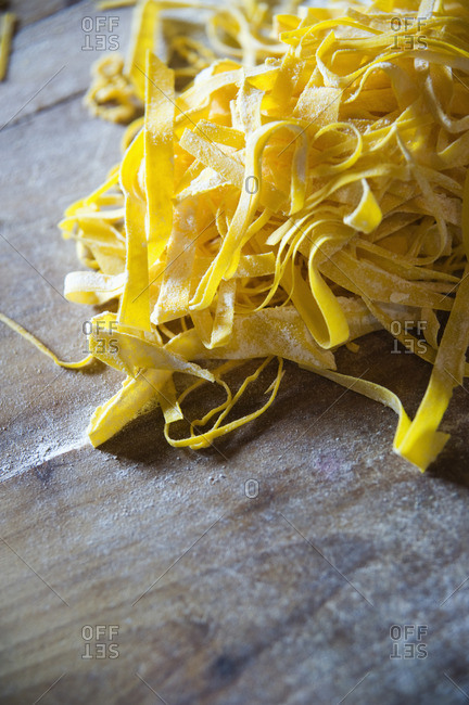 Close up of fresh pasta noodles