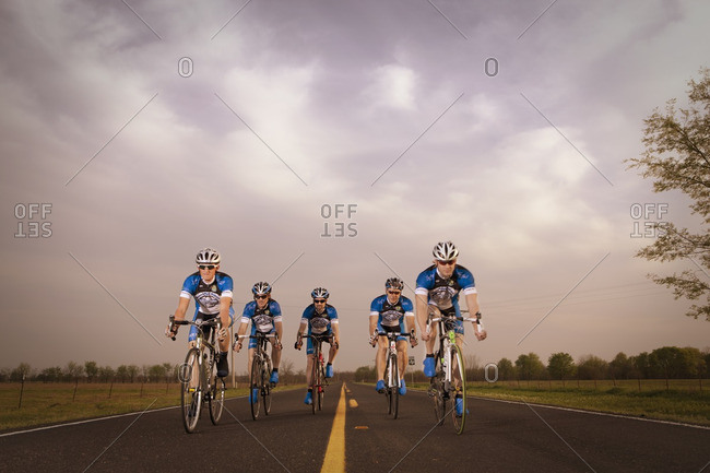 Texarkana, Texas, USA - March 22, 2011: Competitive bicyclists racing on remote rode