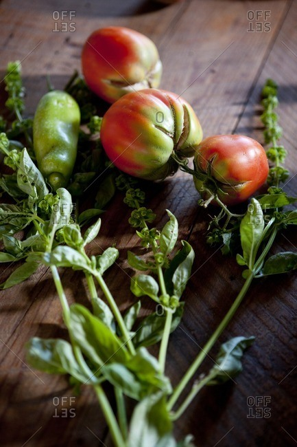 Ripening tomatoes and basil