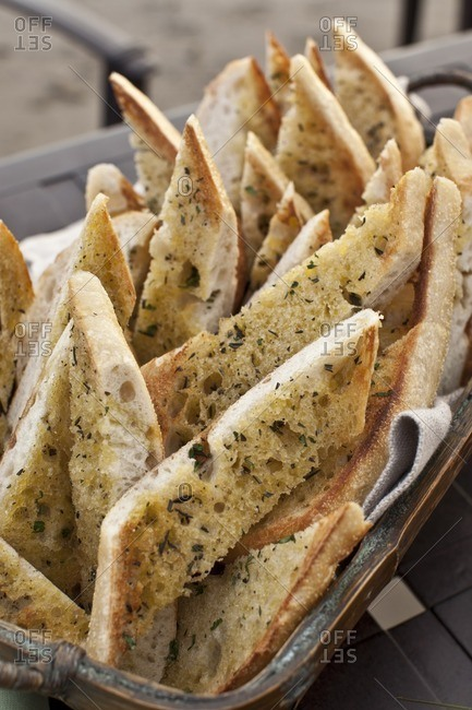 Bread slices in basket